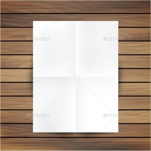 White Folded Paper Mockup Card Isolated On Wood