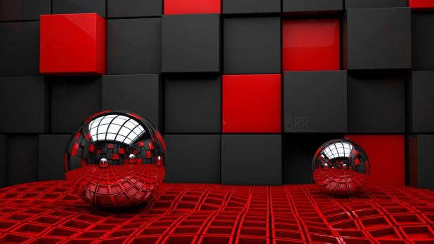 1920 × 1080 Balls With Cube Red, black Wallpaper