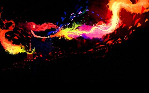 1920 × 1200 Fire Flame, Girl 1080p Desktop Wallpaper Abstract