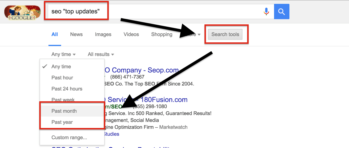 Using search operators to find link roundups