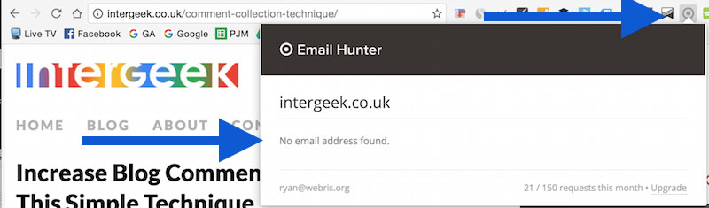 Use Email Hunter plugin