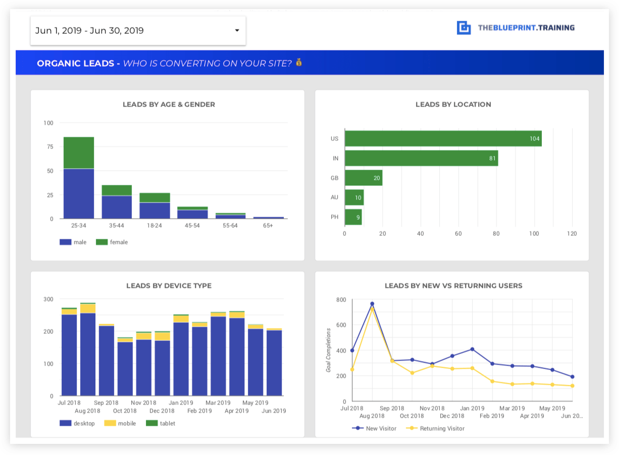 leads from seo dashboard