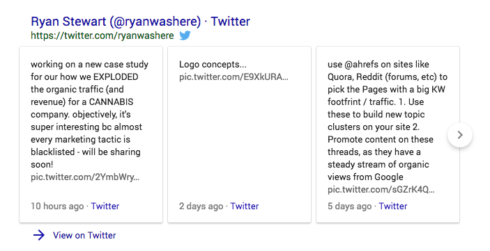 Google indexes Tweets