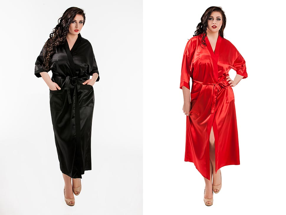 Sexy Satin Full Length Dressing Gown Robe Plus Size 8