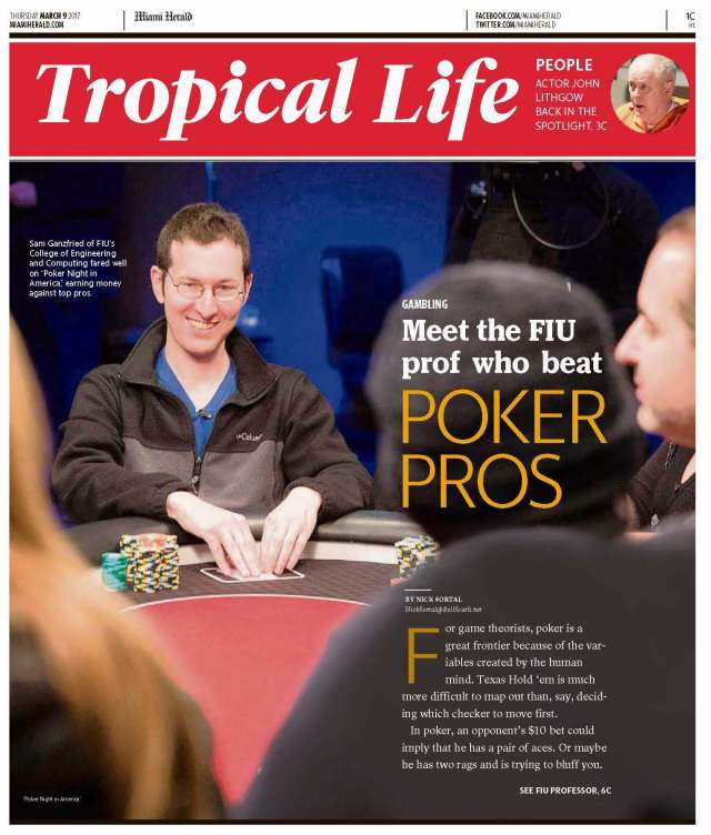 Professor Sam Ganzfried featured on Miami Herald as the FIU prof who beat Poker Pros