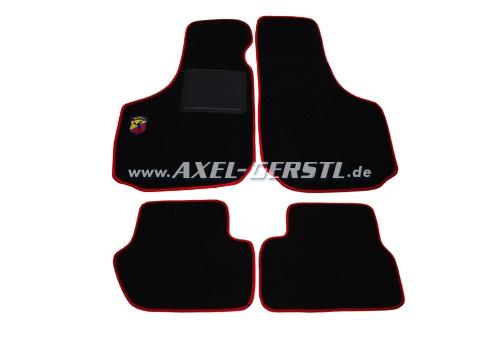 lot de tapis de sol noir rouge avec logo abarth fiat 500 jusqu a 75 abarth 126 600