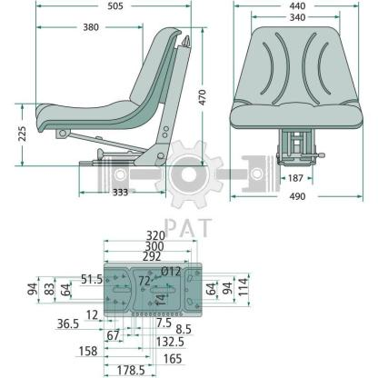 — 24000031 — ● geveerde zitting met veerinstelling voor een gewicht van 50 tot 120 kg,  ● veerweg 100 mm, vering —