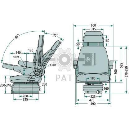 — 24000087 — ● lengteverstelling: 250 mm <br> ● veerweg 100 mm <br> ● mechanische vering met hydraulische schokde —