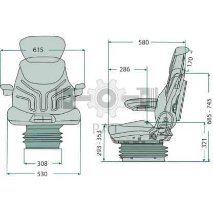 — 2401288539 — ● luchtgeveerde comfortzitting met 12V compressor, ● armleuning in hoogte verstelbaar, 65 x 270 mm e —