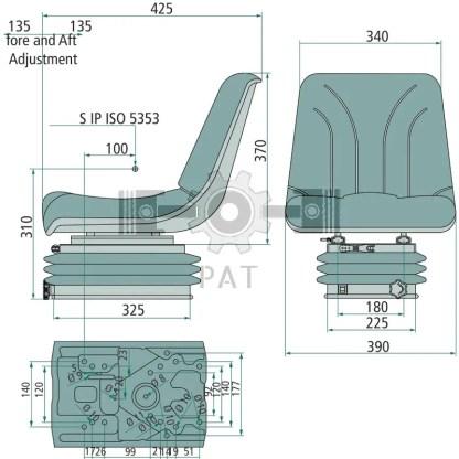 — 240920042 — ● geveerde zitting met veerinstelling voor een gewicht van 50 tot 130 kg, ● veerweg 100 mm, vering m —