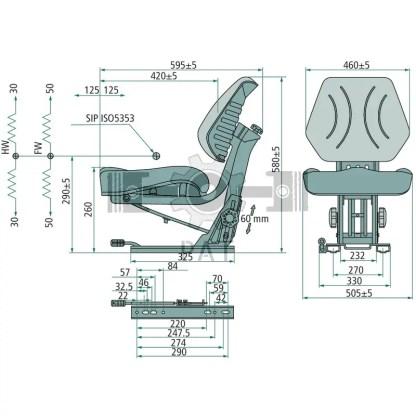 — 240920059 — • 269 mm railafstand <br> • zonder neigverstelling • veerweg 100 mm • gewichtsinstelling manueel 50 —