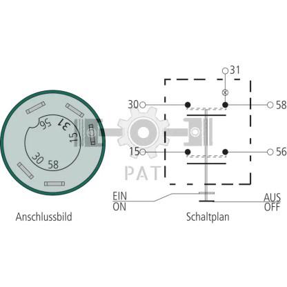 — 50706012 — 5 aansluitingen 6,3 mm, belasting max.: 30 + 58 = 210 W, 15 + 56 = 100 W, glassokkellamp 12V / 1,2W, —