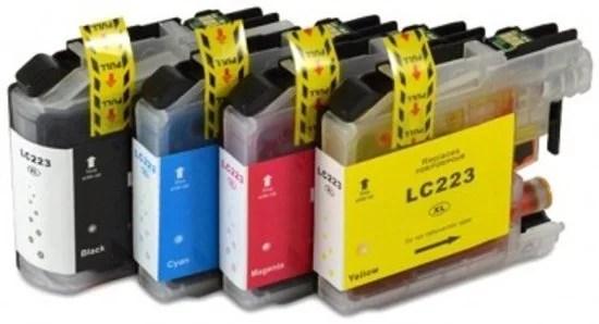 Inktcartridge / Alternatief Spaarset LC-223 inktcartridge zwart, blauw, geel, rood   Brother DCP-J4120DW/ J562DW/ J4420DW/ J4620DW/ J480DW/ J5320DW/