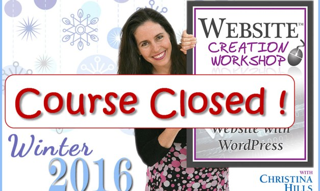 Class is Closed for the Website Creation Workshop Winter 2016 Program