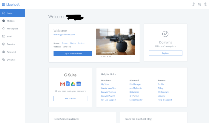 how to open a website hosting account - inside bluehost control panel