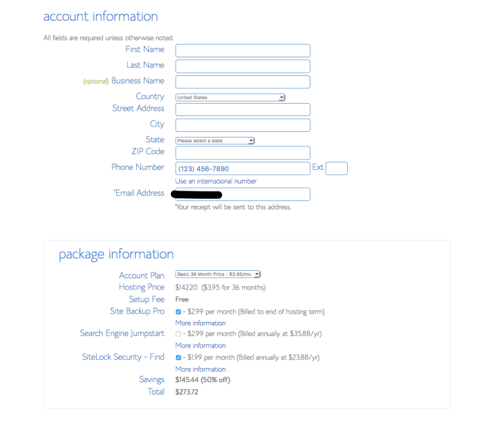 how to open a bluehost website hosting account - step 4