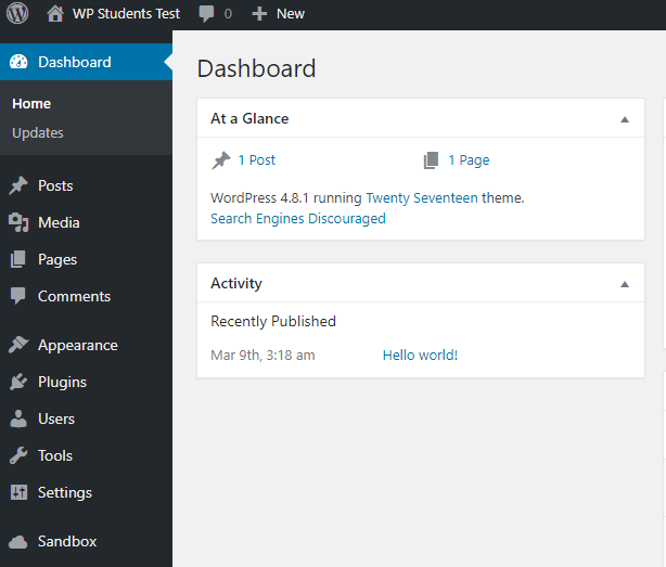 sandbox wordpress install