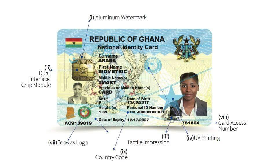 Ghana Card picture front view