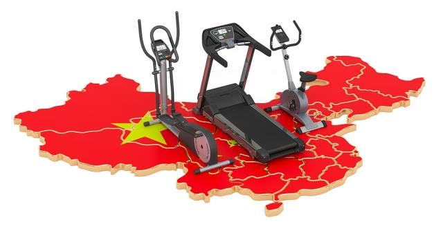 Picture of a map of China with exercise equipment on it