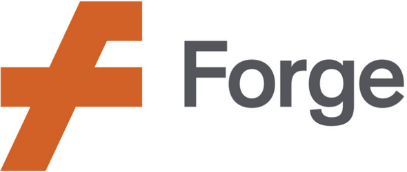 Logo for Forge with stylized F in orange and Forge in dark gray characters