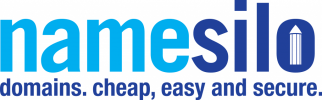 Logo for NameSilo with the tagline domains.cheap, easy and secure. in blue colors