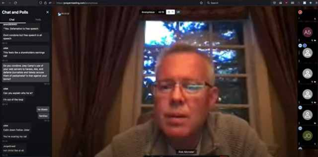 Screenshot of Rob Monster in a video conference