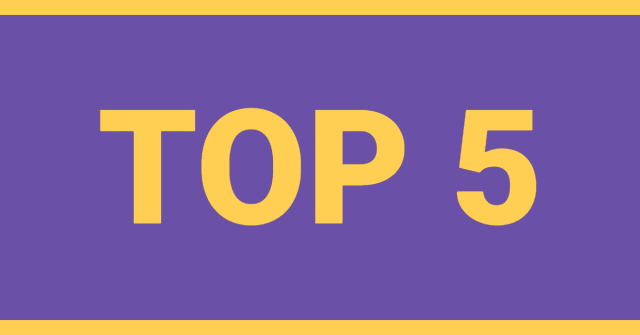 """The words """"Top 5"""" written on a purple background"""