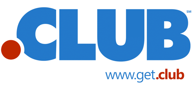 Logo for .club domains has red dot and club in blue
