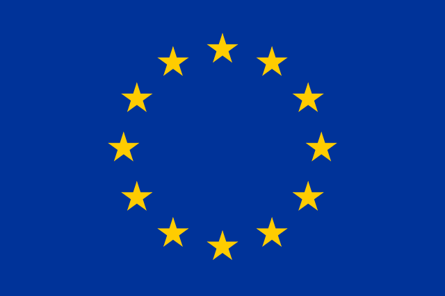 European Union flag features a blue background with 12 gold stars