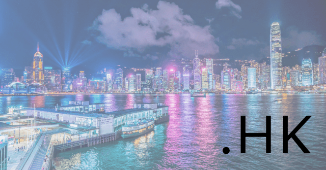 A picture of Hong Kong's skyline with .HK