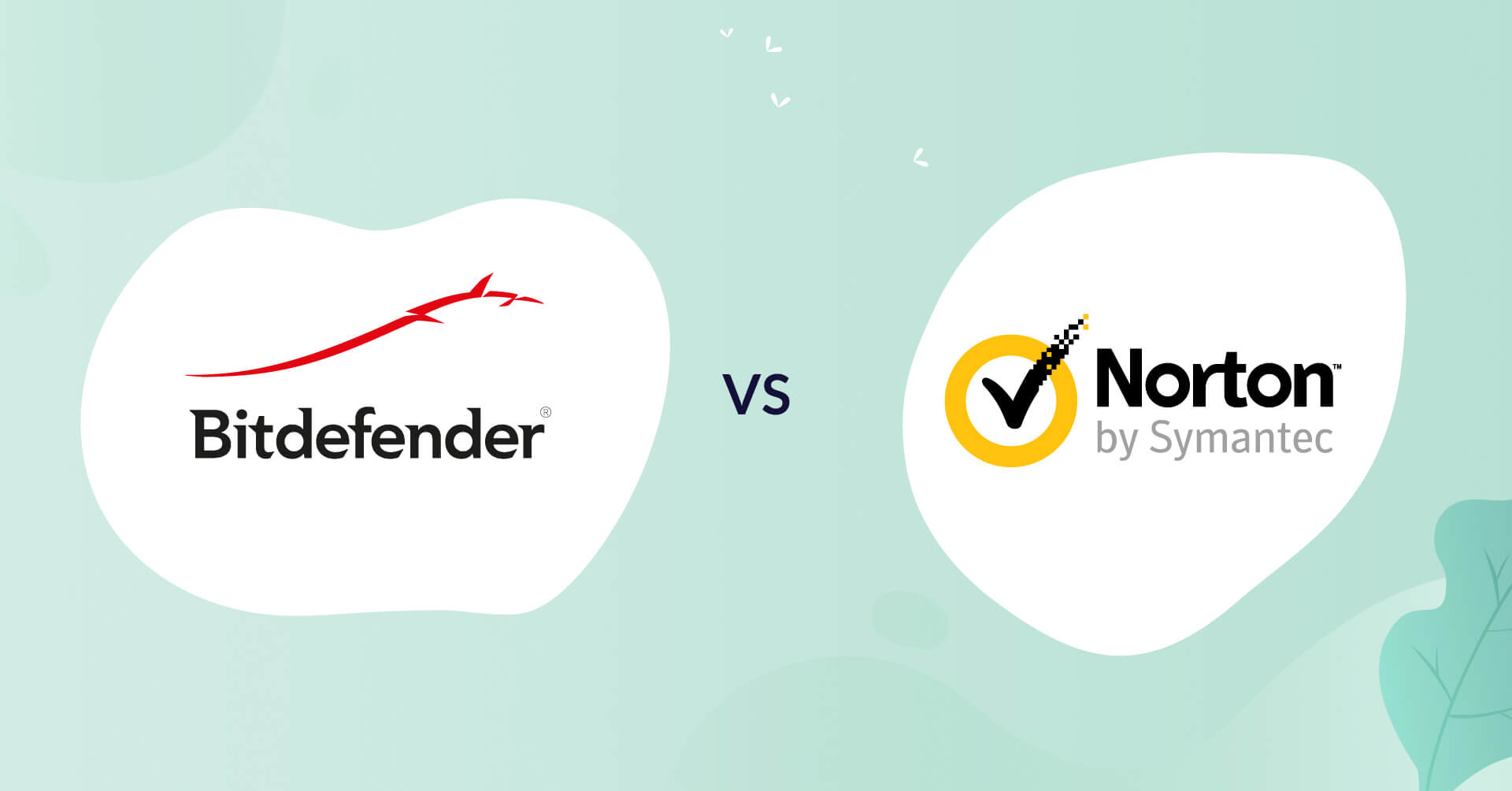 bitdefender logo vs norton logo antivirus comparison header for how to choose article