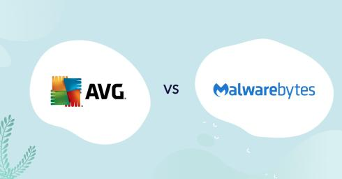 AVG logo vs malwarebytes logo antivirus comparison header for how to choose article
