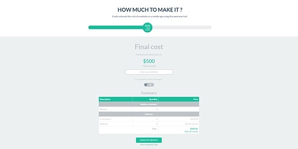 Cost Estimator for Websites