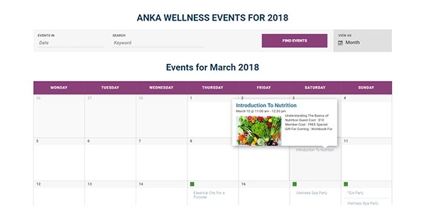 Events Calendar for Websites