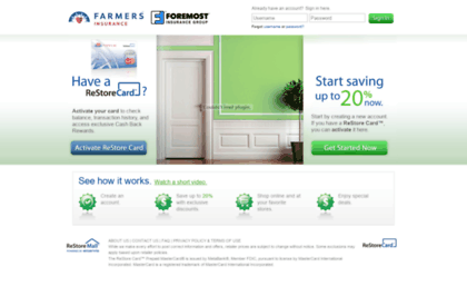 Farmers.restoremall.com website. Farmers ReStore Mall™ | Sign In.