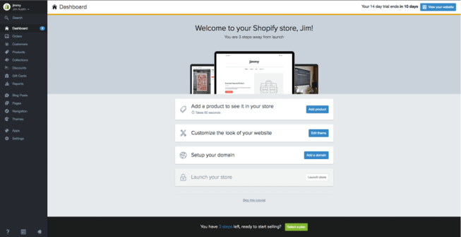 Shopify homescreen