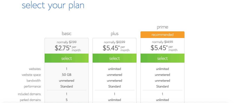 Choisissez votre plan d'hébergement web