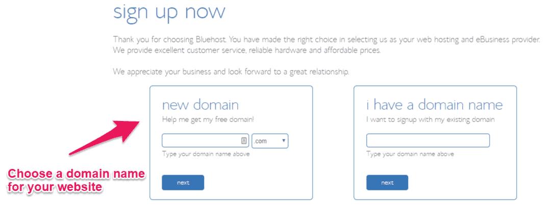 Bluehost choisit le nom de domaine