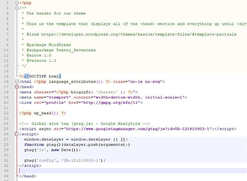 Add Google Analytics tracking code to WordPress header file