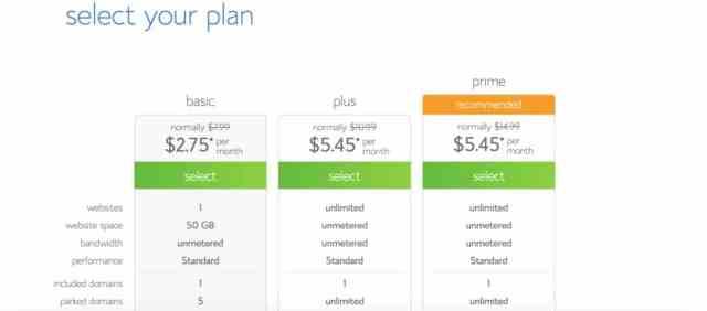 Choose your web hosting plan