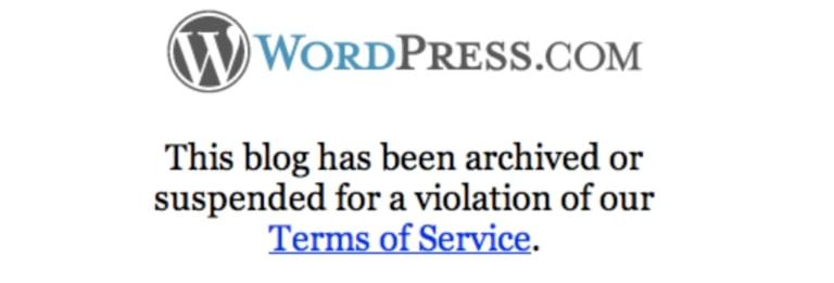 WordPress.com blog has been removed