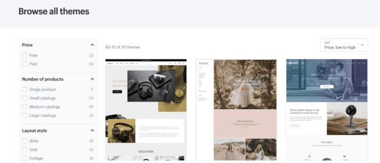 Shopify theme selection