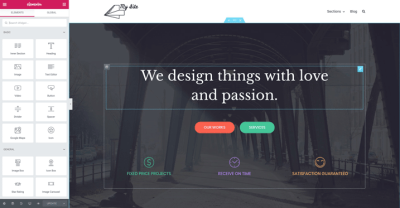 How to create a website: Elementor