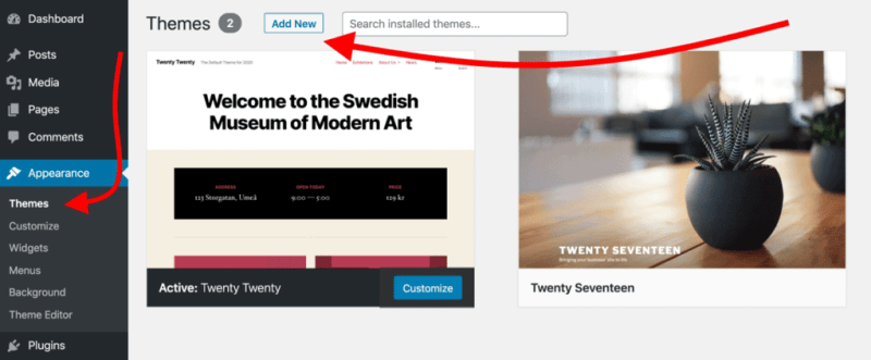 How to create a website: add themes