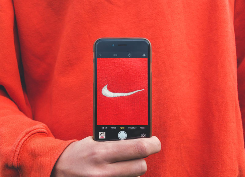 Picture of Nike badge in mobile phone