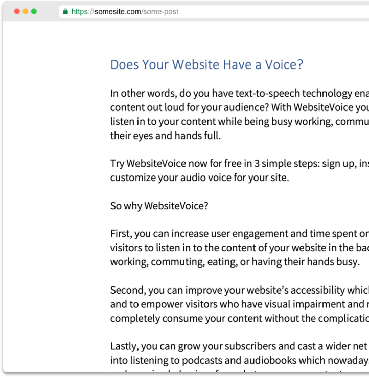 Website text-to-speech done right