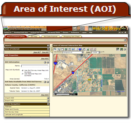 Area of Interest tab - Click to close