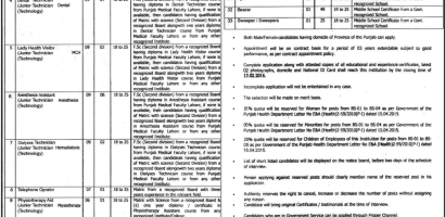 New February 2016 Medical Jobs In Services Hospital, Lahore