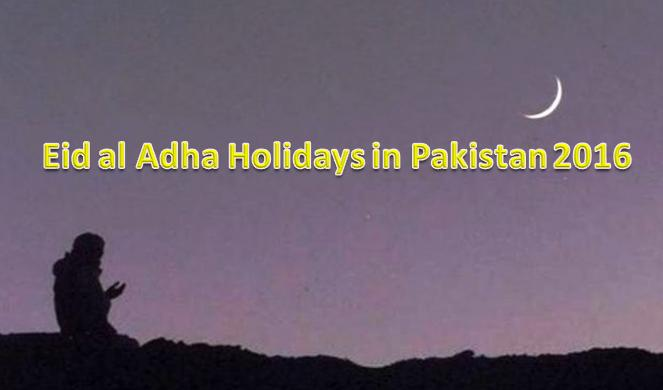 Eid ul adha Public Holidays in Pakistan in 2016