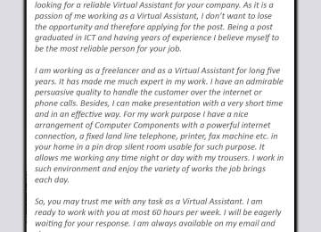 Virtual Assistant Cover Letter Best Sample For Va 20